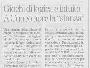 La Stampa - Intrappola.to: giochi di logica e intuito, a Cuneo apre la stanza