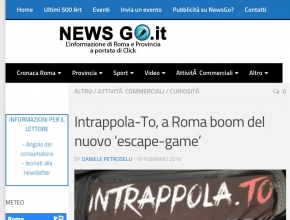 News Go - Intrappola.to, a Roma boom del nuovo escape game