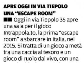 Il Mattino di Padova - Apre oggi in via Tiepolo una escape room!
